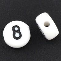 Kunststoffperle Zahl 8, runde Scheibe, 7 x 3,7 mm, weiß mit schwarzer Schrift