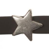Metallperle Mini-Slider Stern, versilbert, ca. 10,0 mm
