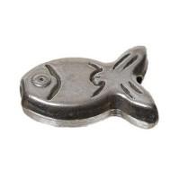 Metallperle, Fisch, ca. 13 mm, versilbert