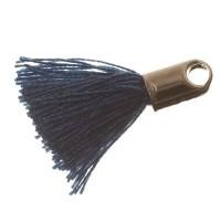 Quaste/Troddel, 18 mm, Baumwollgarn mit Endkappe (silberfarben), dunkelblau