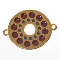Metallanhänger / Armbandverbinder Boho, vergoldet, emailliert, ca. 27 x 21 mm