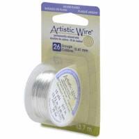 Beadalon Artistic Wire (Modellierdraht), 26 Gauge (0,41 mm), versilbert, Rolle mit 15 yd (13,7 m)