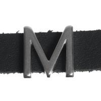 "Metallperle Slider / Schiebeperle Buchstabe ""M"", versilbert, ca. 12,8 x 13,5  mm"