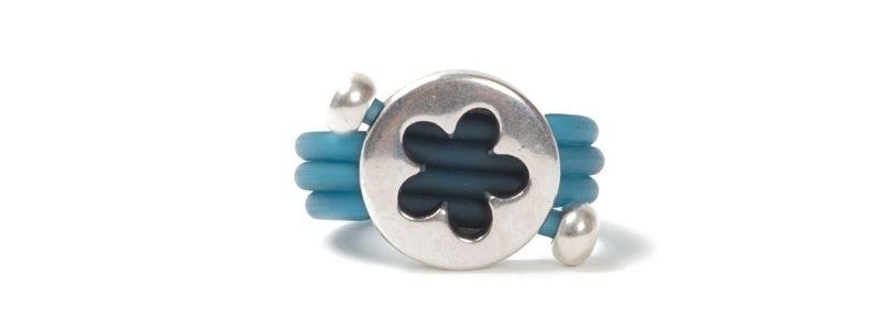 Wickelring Blume Blau