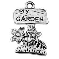 "Metallanhänger Blumen mit Schrift ""My Garden"", 25 x 16 mm, versilbert"