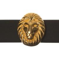 Metallperle Mini-Slider Löwe, vergoldet, 8,5 x 7,0 mm, Durchmesser Fädelöffnung:  5,2 x 2,0 m