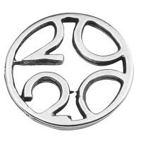 """Armbandverbinder Rund mit Jahreszahl """"2020"""", 16,5 x 16 mm Durchmesser, versilbert"""