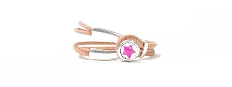Armband Metall & Leder Cabochon Stern Pink