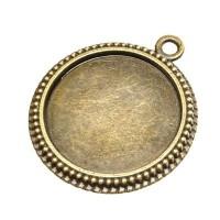 Anhänger/Fassung für Cabochons,  25 mm, antik bronzefarben