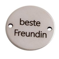 """Coin Armbandverbinder Schriftzug """"Beste Freundin"""", 15 mm, versilbert, Motiv lasergraviert"""
