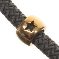 Metallperle Röhre mit Stern für 5 mm Segelseil, 9,5 x 9,5 mm, vergoldet