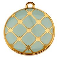 Metallanhänger Rund, Durchmesser22 mm, aqua emailliert, vergoldet