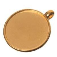 Fassung für Cabochons rund 20 mm, eine Öse, vergoldet