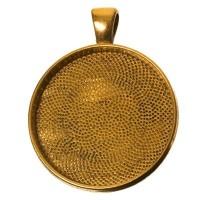 Anhänger für Cabochons, rund 30 mm, goldfarben