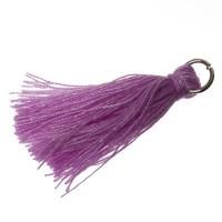 Quaste/Troddel, 25 - 30 mm, Baumwollgarn mit Öse (silberfarben), lilac