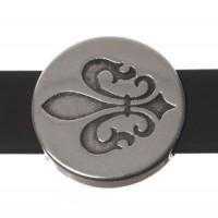 Metallperle Slider / Schiebeperle Scheibe mit Lilie, versilbert, ca. 18 mm