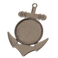 Anhänger/Fassung für Cabochons Anker, 30 mm, antik silberfarben