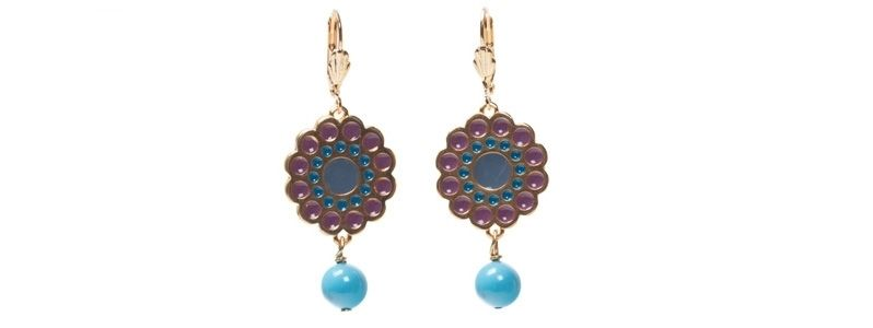 Ohrhänger mit Boho Emaille und Crystal Pearls Turquoise