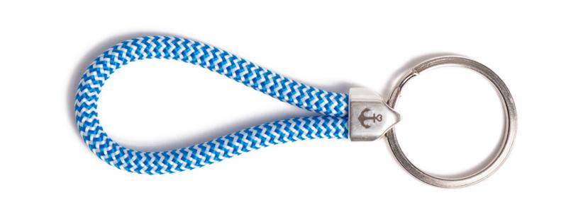Maritimer Schlüsselanhänger aus Segeltau klein Blau-Weiß Ges