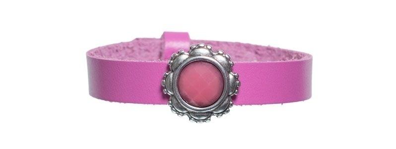 Leder-Armband mit Sliderperlen einfach Pink
