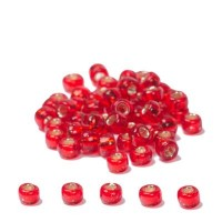 Miyuki Rocailles rund 8/0 (ca. 3 mm), Flame Red Silver-Lined, ca. 22 gr