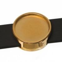 Schiebeperle / Slider mit Fassung für Cabochons 12 mm, 14 x 5,5 mm, vergoldet