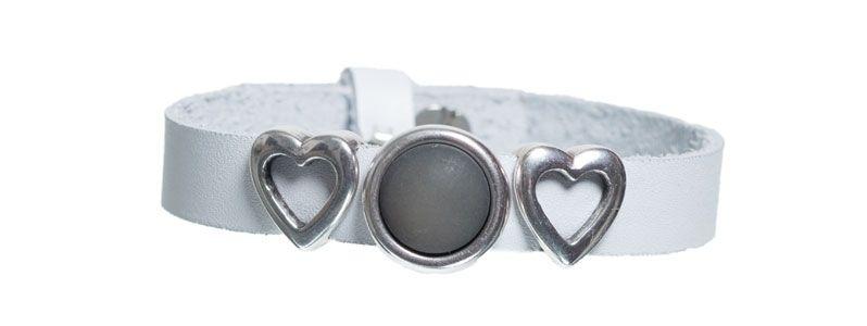 Leder-Armband mit Sliderperlen einfach Grau