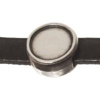 Schiebeperle / Slider mit Fassung für Cabochons 7 mm, 8,5 x 4,5 mm, versilbert