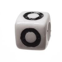Kunststoffperle Buchstabe O, Würfel, 7 x 7 mm, weiß mit schwarzer Schrift