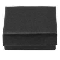 Schmuckschachtel mit Schaumstoffinlet, rechteckig, schwarz, 7,3 x 7,3 x 3 cm