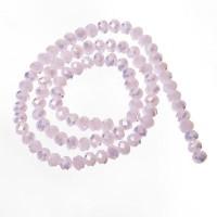 Strang Glasfacett  Rondell, 4 x 6 mm, rose alabaster AB, Länge des Strangs ca. 40 cm