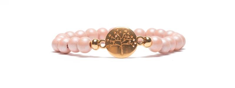 Armband mit Armbandverbinder und Holzperlen Baum