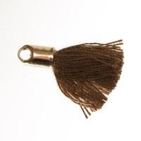Quaste/Troddel, 18 mm, Baumwollgarn mit Endkappe (goldfarben), hellbraun
