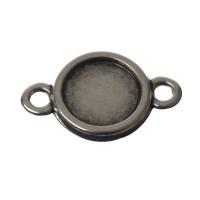 Fassung für runde Cabochons 12 mm, 2 Ösen, versilbert