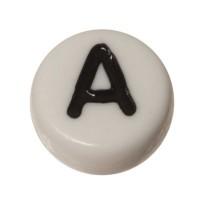 Kunststoffperle Buchstabe A, runde Scheibe, 7 x 3,7 mm, weiß mit schwarzer Schrift
