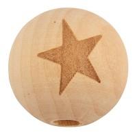 Holzperle Kugel mit Stern, Durchmesser ca. 20 mm, natur