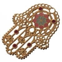 Metallanhänger Hamsa, 55 x 39,5 mm, vergoldet und pink-aqua emailliert
