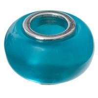 Polaris-Bead, Linse, 12 x 7,5 mm, türkisblau glänzend