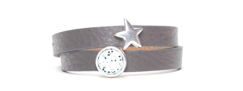 Armband mit Screws und Polaris Sassi Cabochon Dunkelgrau