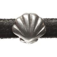 Metallperle Mini-Slider Muschel, versilbert, ca. 9 x 8,5 mm