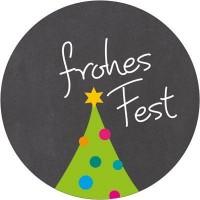 """Aufkleber """"Frohes Fest"""", rund, Durchmesser 30 mm"""