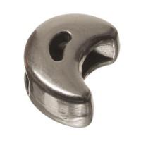 Metallperle Micro-Slider Mond, versilbert, ca. 5,5 x 7,0 mm