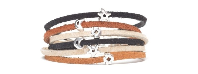 Ethno-Armband Velourleder Sterne
