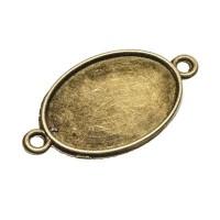 Anhänger/Fassung für Cabochons, 25 x18 mm, 2 Ösen, antik bronzefarben