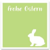 "Schmuckkarte ""Frohe Ostern"" hellgrün, quadratisch, Größe 8,5 x 8,5 cm"