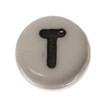 Kunststoffperle Buchstabe T, runde Scheibe, 7 x 3,7 mm, weiß mit schwarzer Schrift