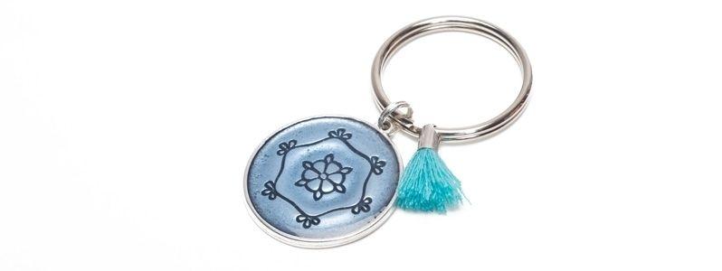 Schlüsselanhänger Mandala blau