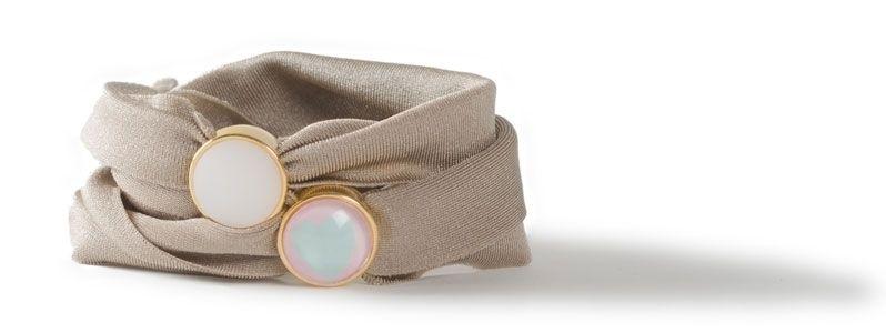 Lycra-Armband mit Sliderperlen Hellbraun