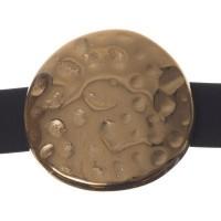 Metallperle Slider / Schiebeperle Scheibe, vergoldet, ca. 26 mm