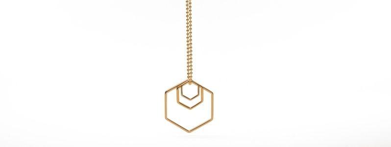 Geometrics-Kette Anhänger Hexagon